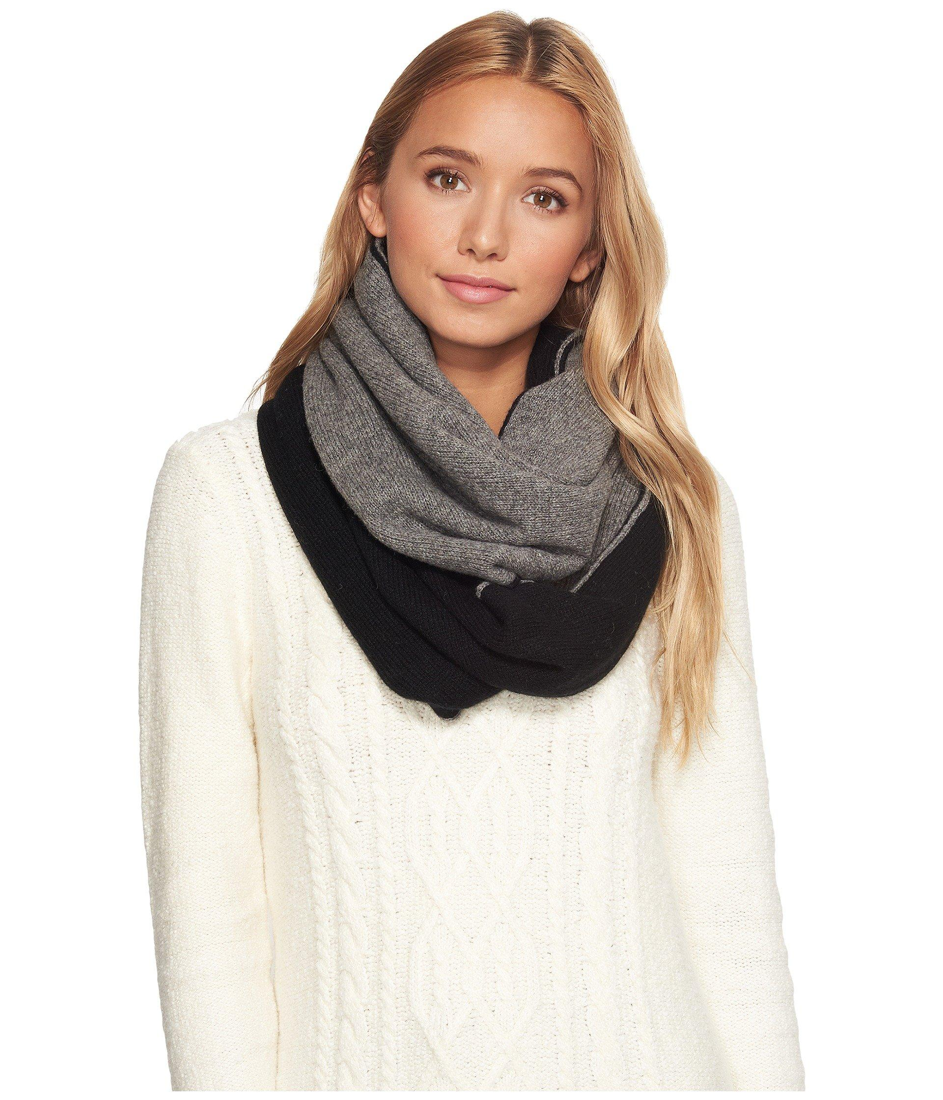 Ugg Two Color Infinity Scarf In Black Multi