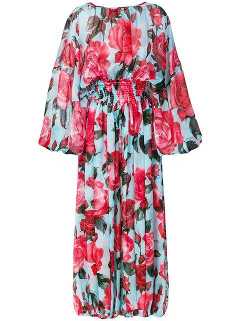 Dolce & Gabbana Rose Print Jumpsuit In Blue