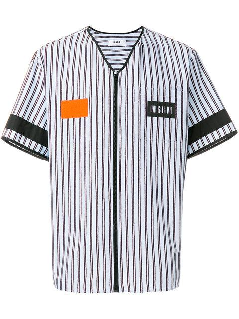 Msgm Zipped Stripe Shirt - Blue