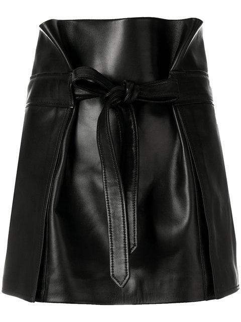 Saint Laurent Fitted Biker Skirt In Black
