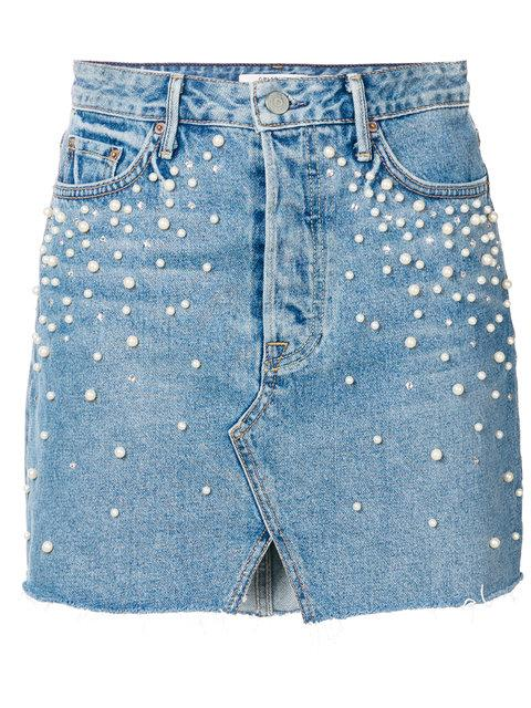 Grlfrnd Fitted Denim Skirt - Blue
