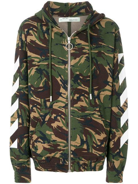 Off-white Camouflage Zipped Hoodie - Green