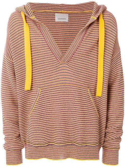 Laneus Striped Hooded Jumper - Red