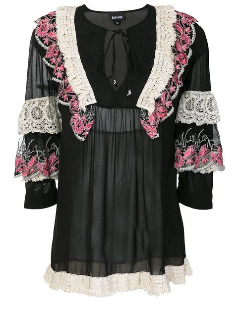 Just Cavalli Ruffle And Lace Trim Blouse