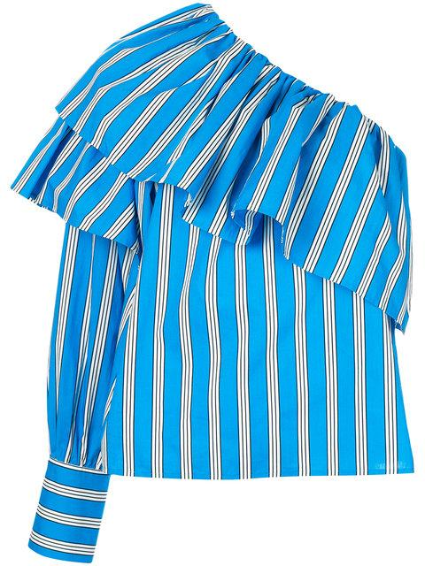 Msgm Asymmetric Ruffle Trim Shirt In Blue