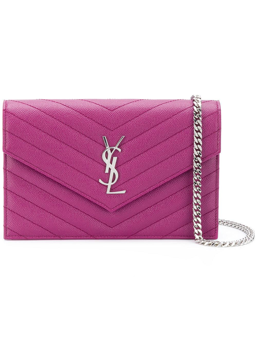 Saint Laurent Monogram Chain Wallet - Pink & Purple