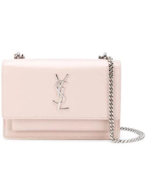 Saint Laurent Monogram Shoulder Bag In Pink