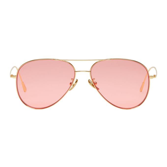 Cutler And Gross Gold & Pink Aviator Sunglasses