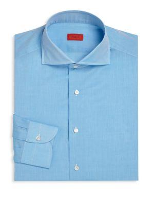 Isaia Regular-fit Heathered Dress Shirt In Blue