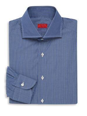 Isaia Regular-fit Striped Dress Shirt In Dark Blue