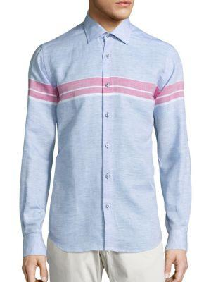 Saks Fifth Avenue Collection Striped Long Sleeve Shirt In Blue