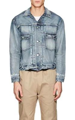 John Elliott Thumper Distressed Denim Jacket - Blue