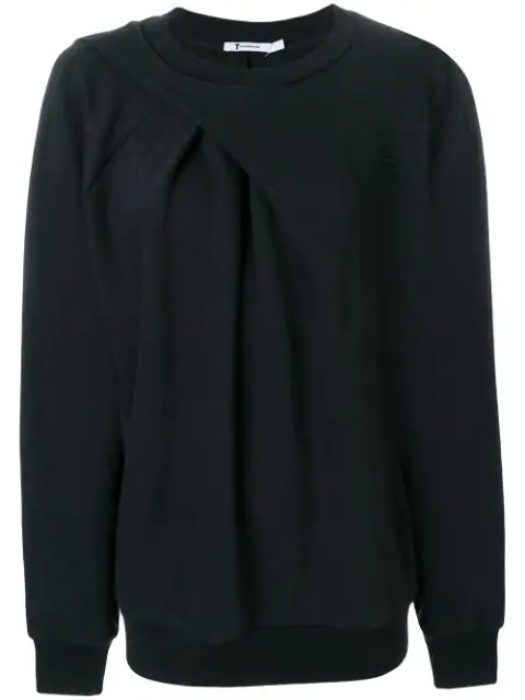 Alexander Wang Asymmetric Drape Sweatshirt In Black
