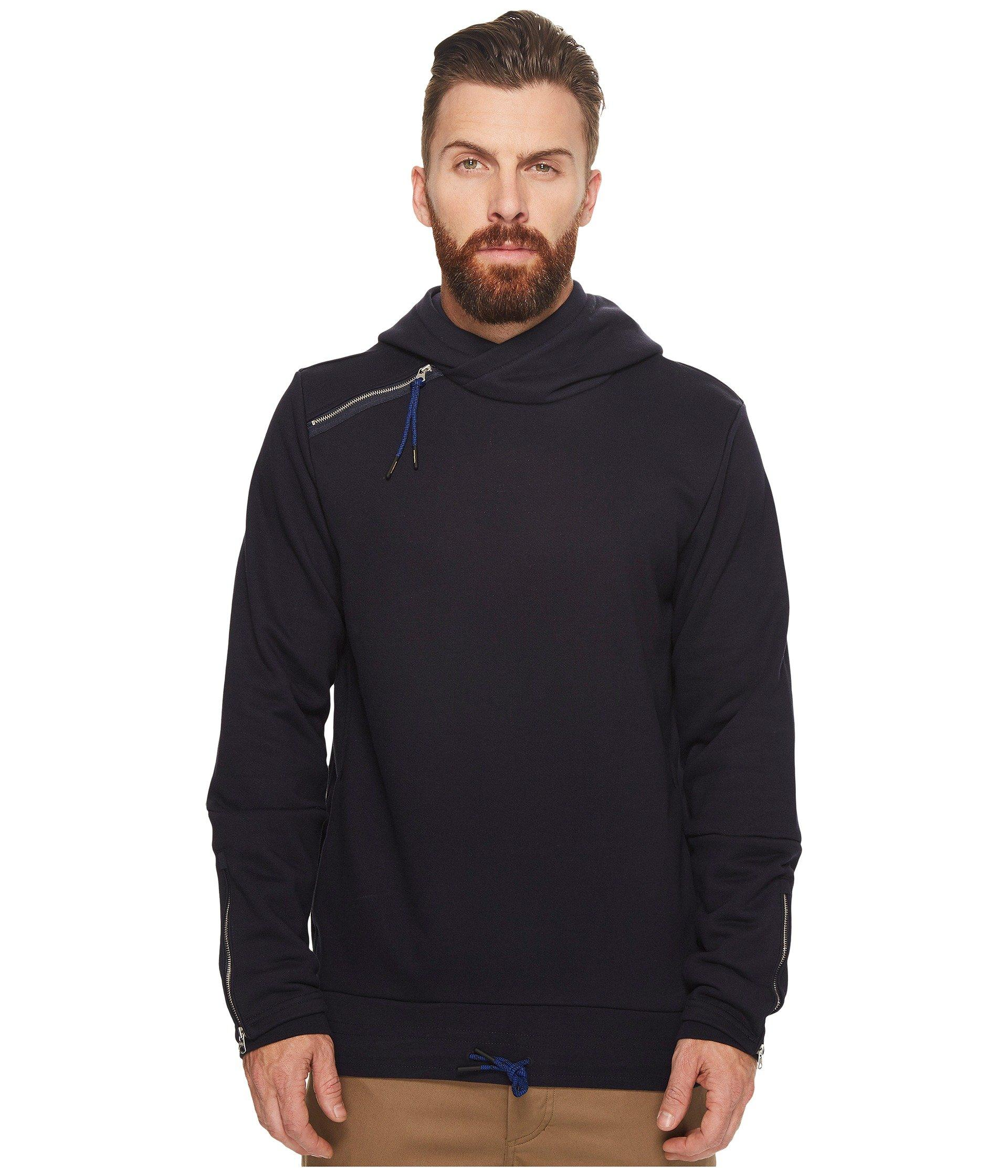 Scotch & Soda Hooded Sweat With Side Panel And Double Cuff Styling In Night