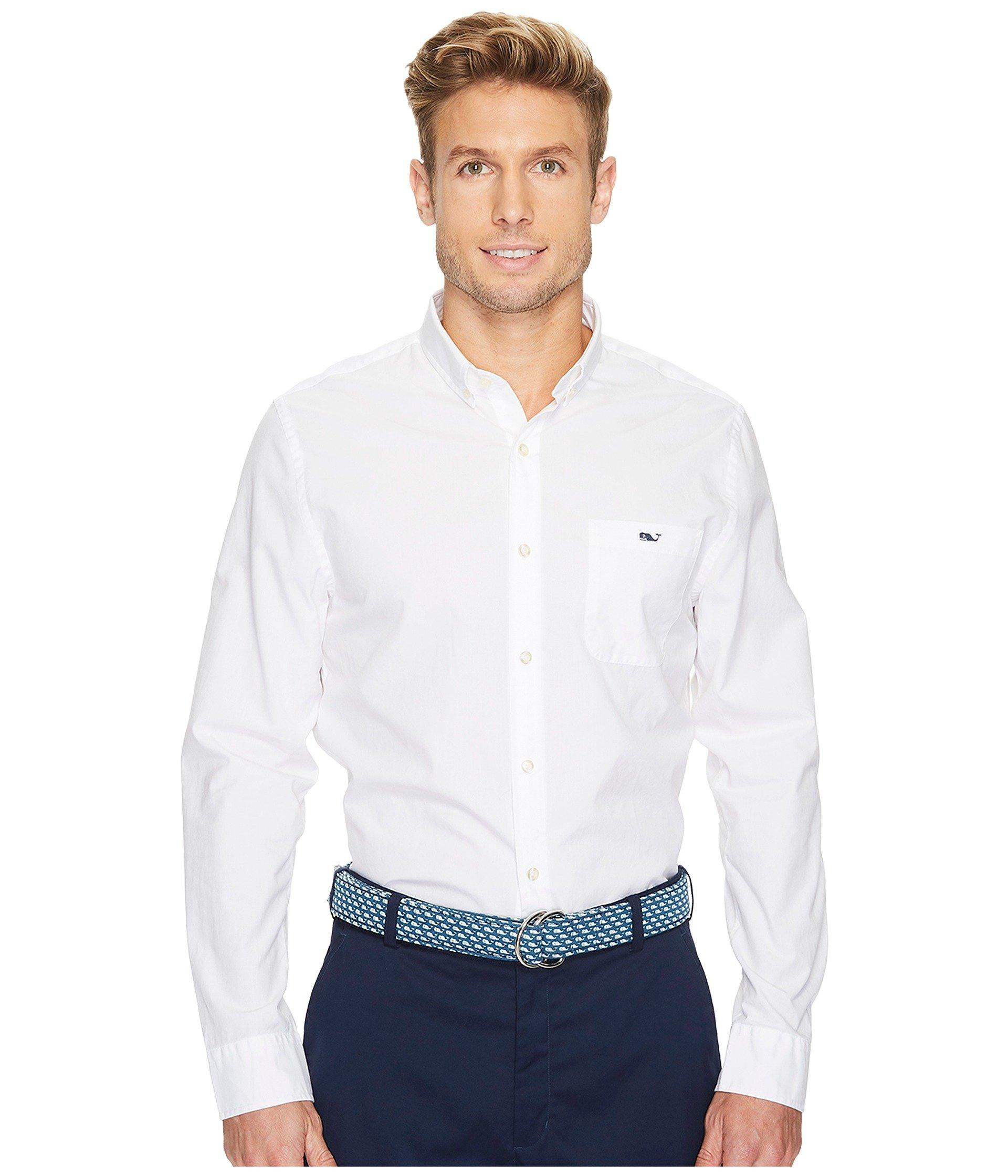 Vineyard Vines End On End Slim Tucker Shirt In White Cap