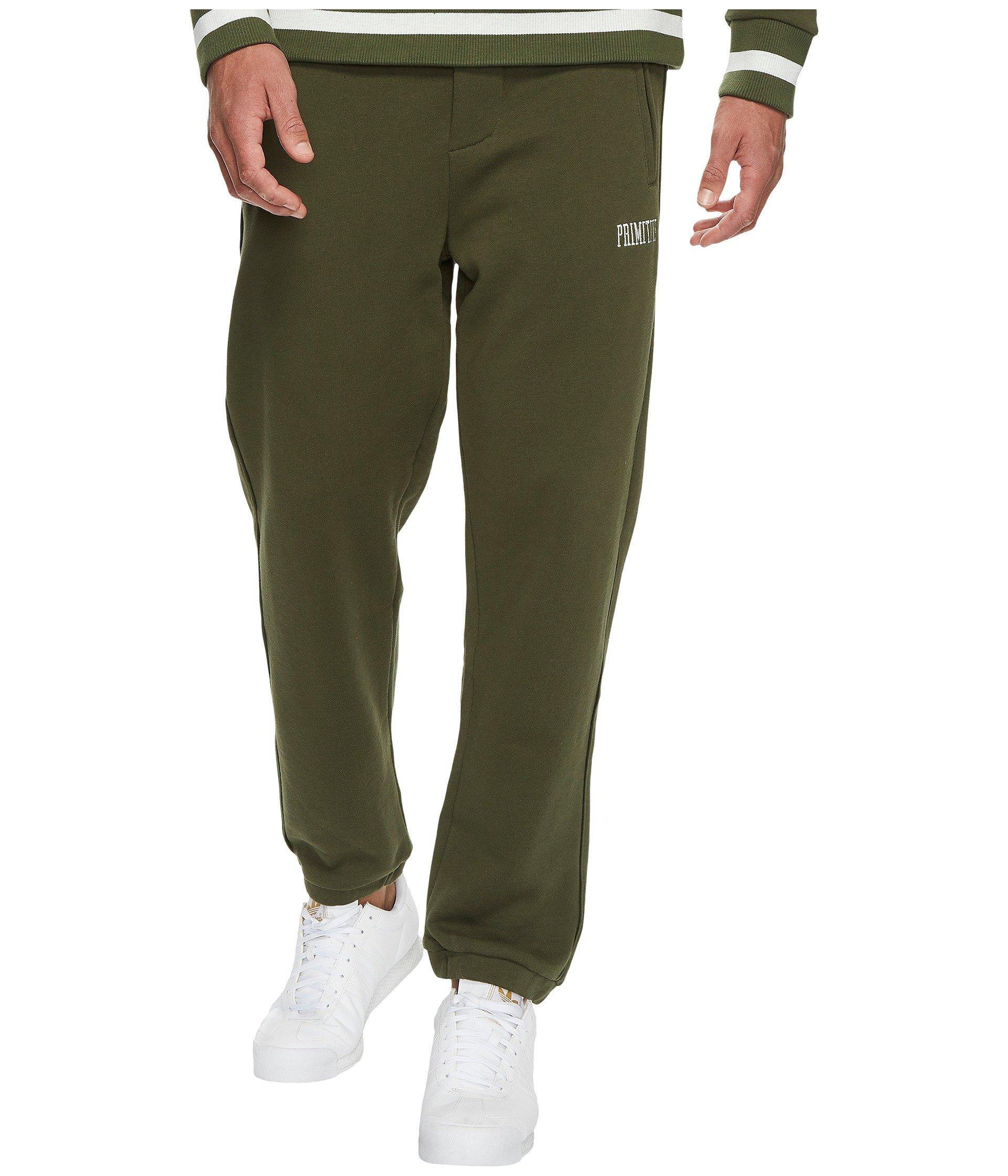 Primitive League Fleece Pants In Dark Olive