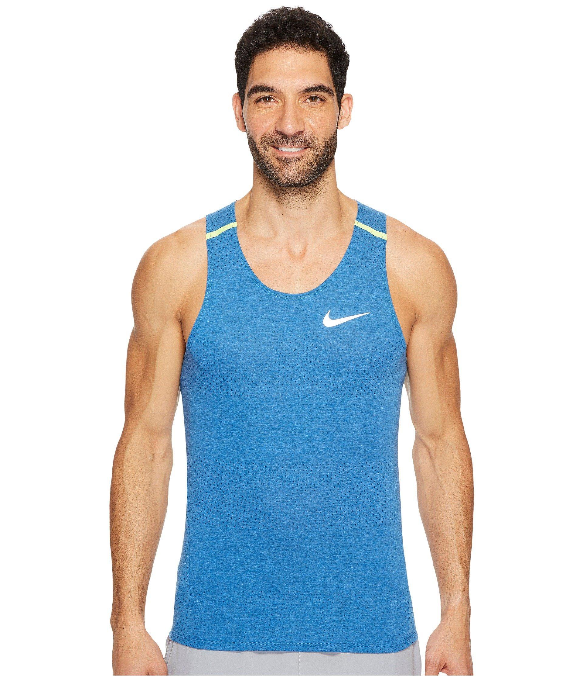 Nike Breathe Running Tank In Blue Jay/heather/volt