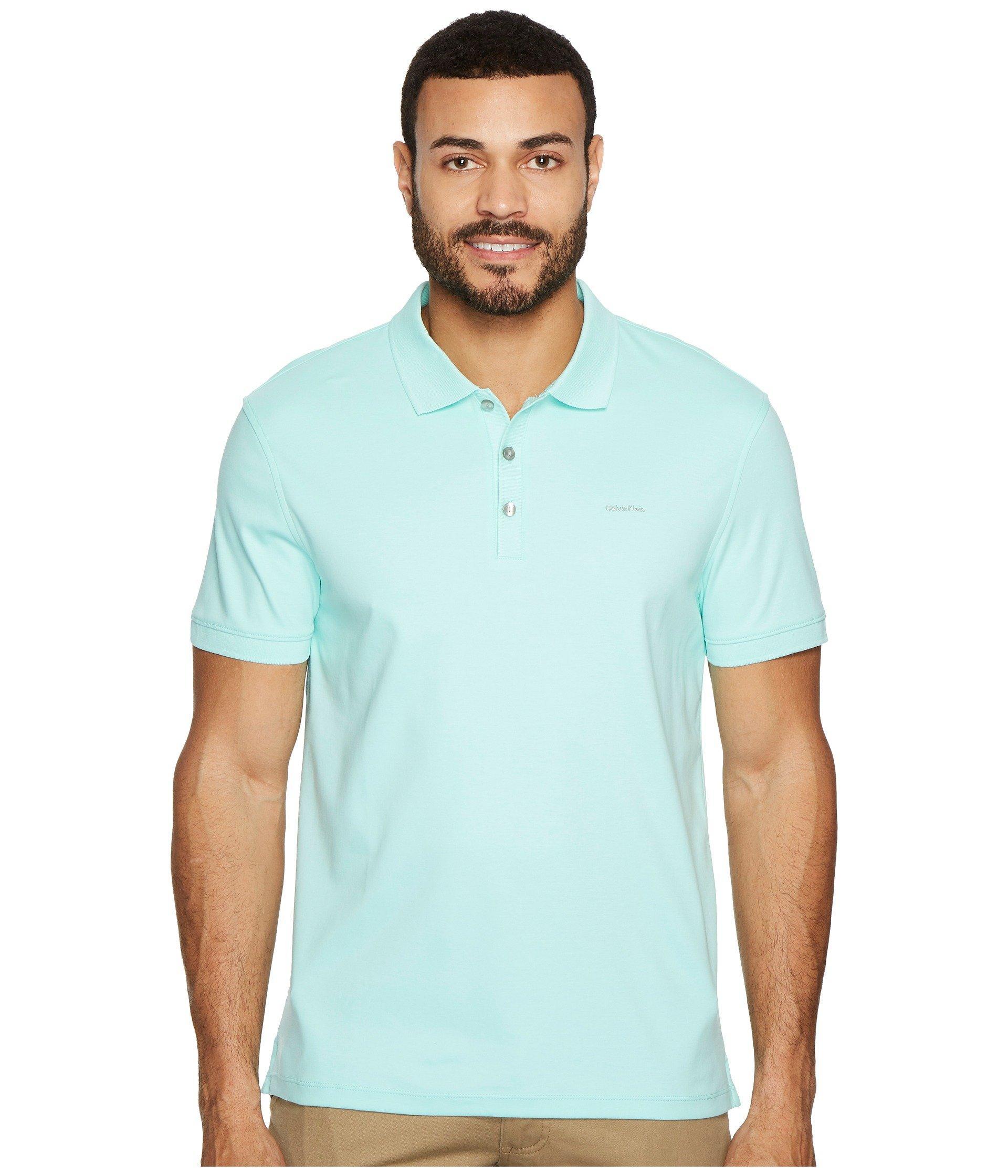 Calvin Klein Liquid Touch Polo Shirt In Beach Glass