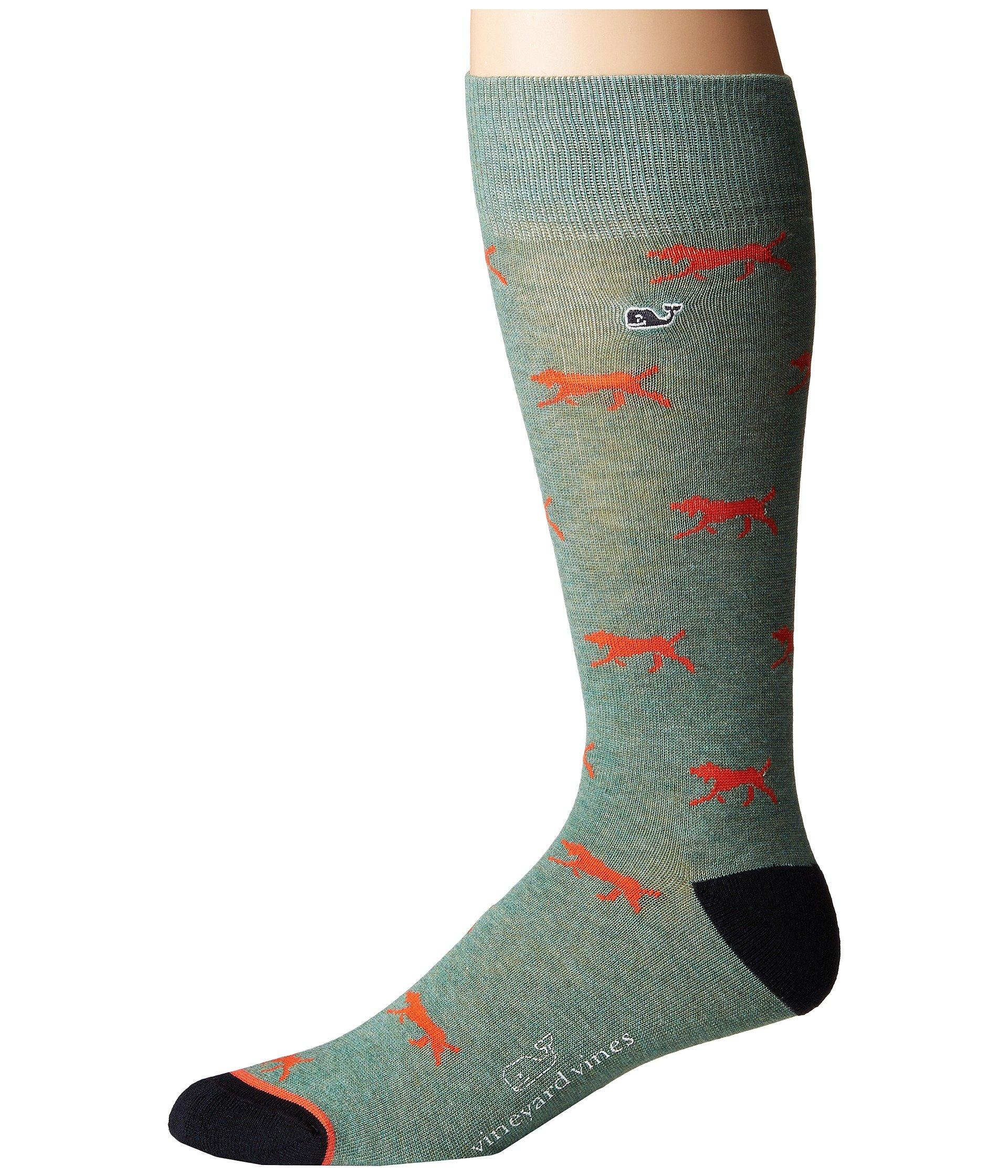 Vineyard Vines Hunting Dog Sock In Starboard Green