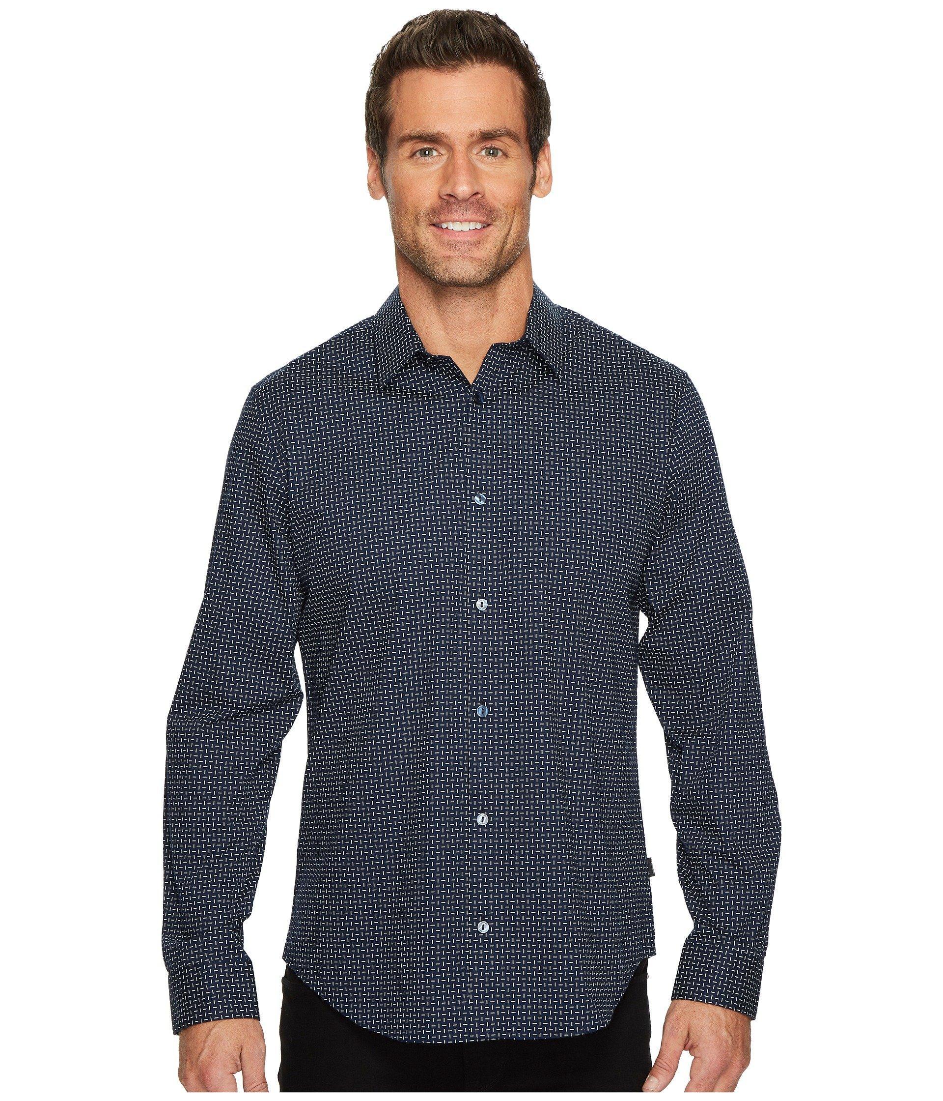 Calvin Klein Printed Off Grid Button Down Shirt In Cadet Navy