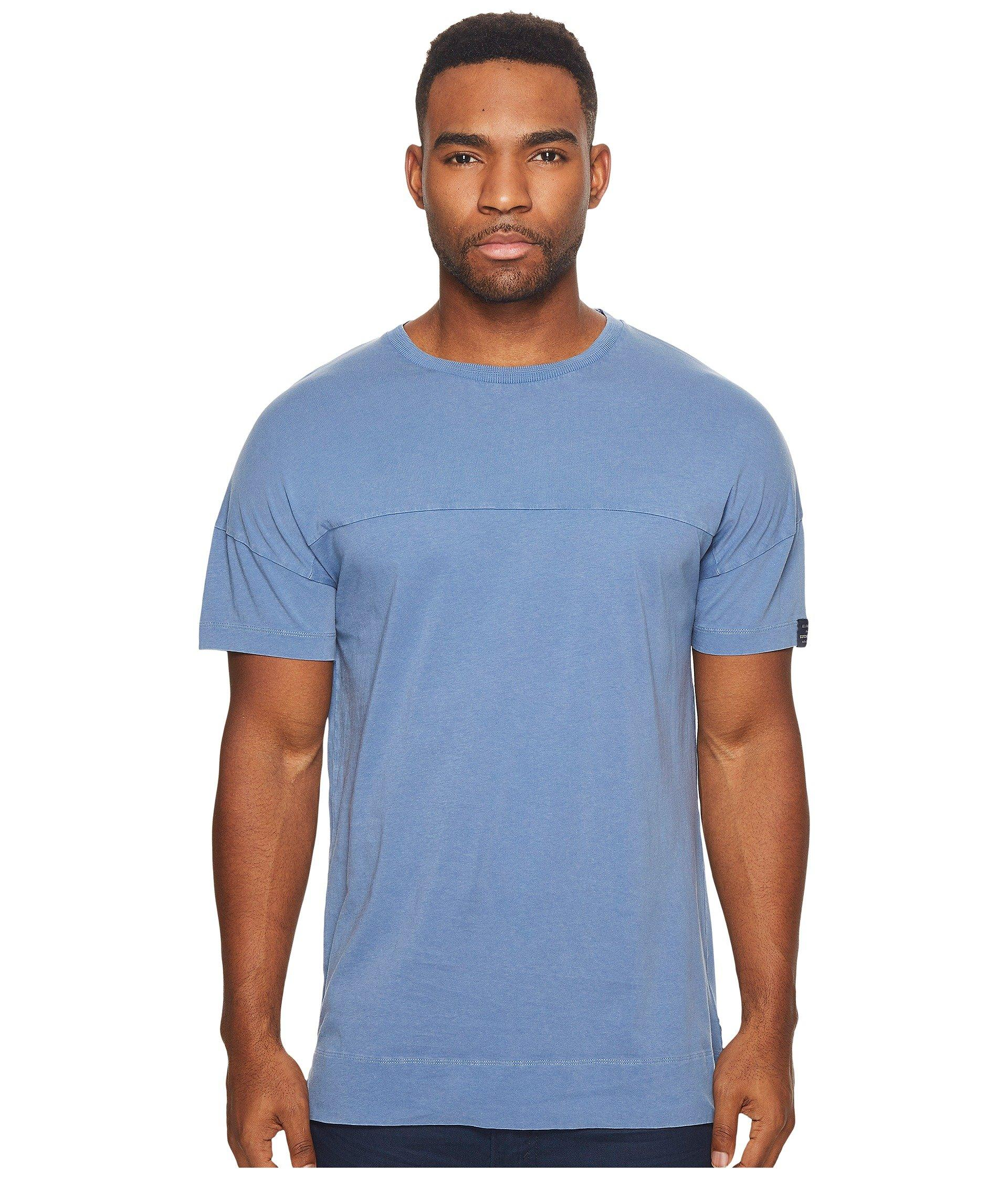 Scotch & Soda Garment Dyed Crew Neck Tee With Dropped Shoulder In Washed Indigo
