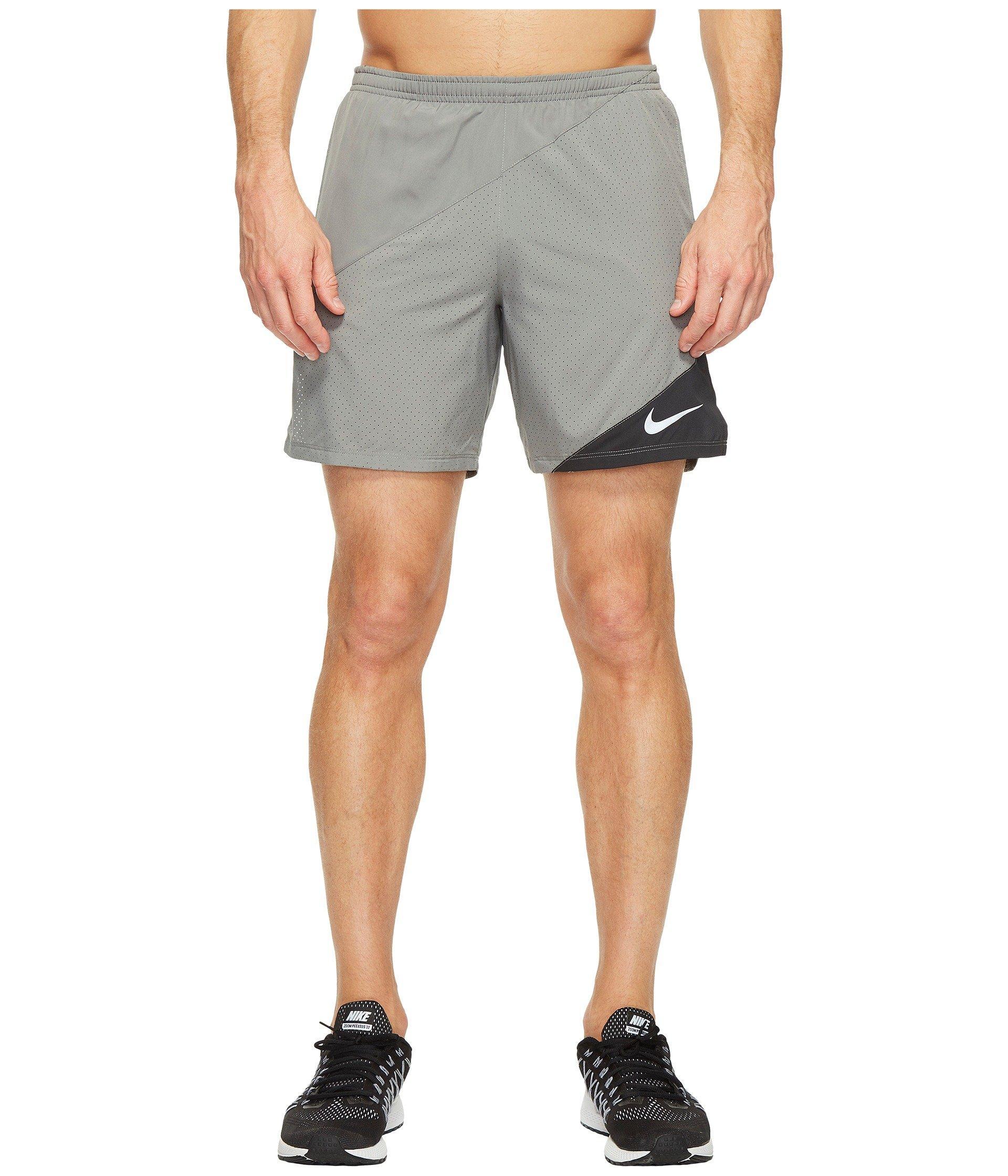"Nike Distance 7"" Running Short In Tumbled Grey/black"