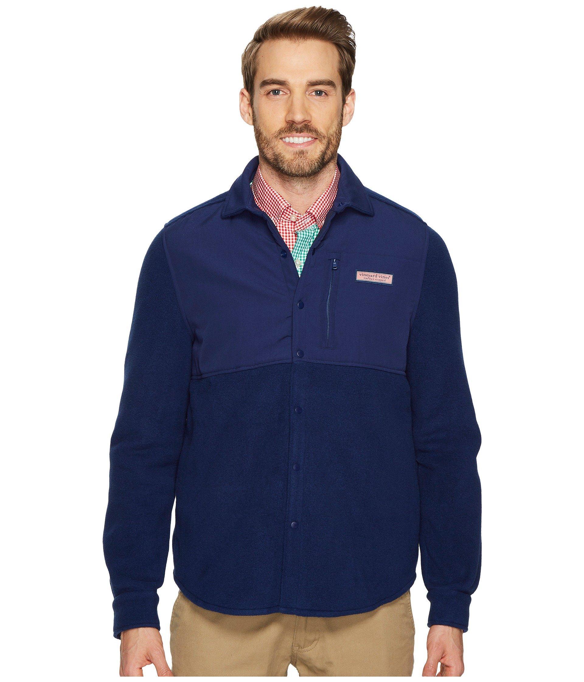 Vineyard Vines Shirt Jacket Snap Fleece In Deep Bay