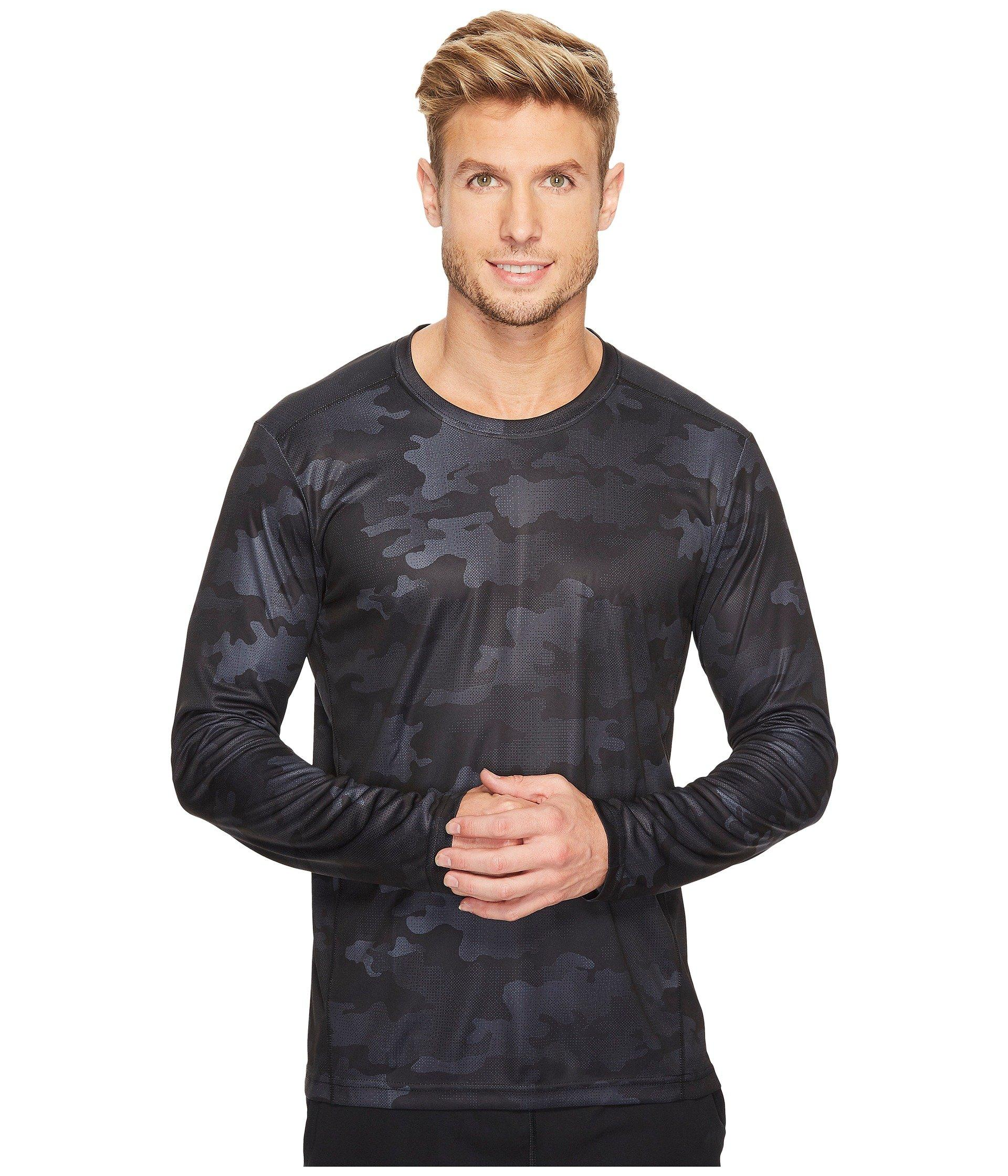 Adidas Originals Climalite® Graphic Single Long Sleeve Crew In Black Data Camo