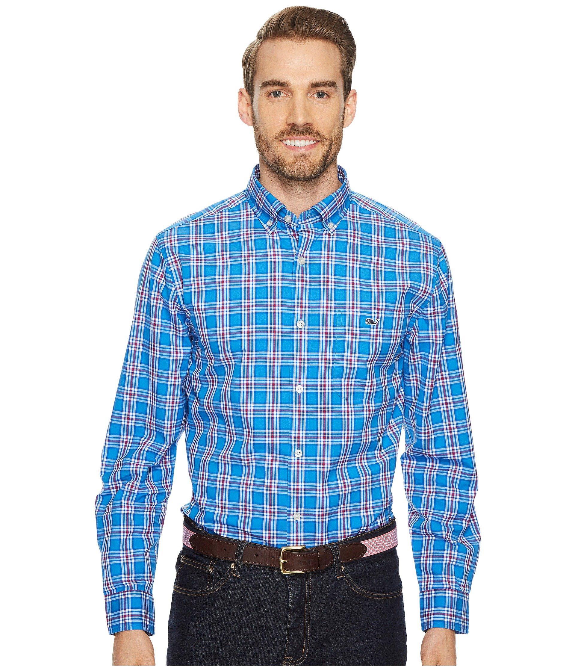 Vineyard Vines Chandler Pond Plaid Classic Tucker Shirt In Hull Blue