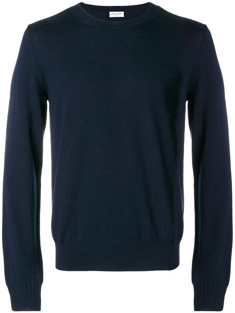 Saint Laurent Classic Knitted Sweater In Blue