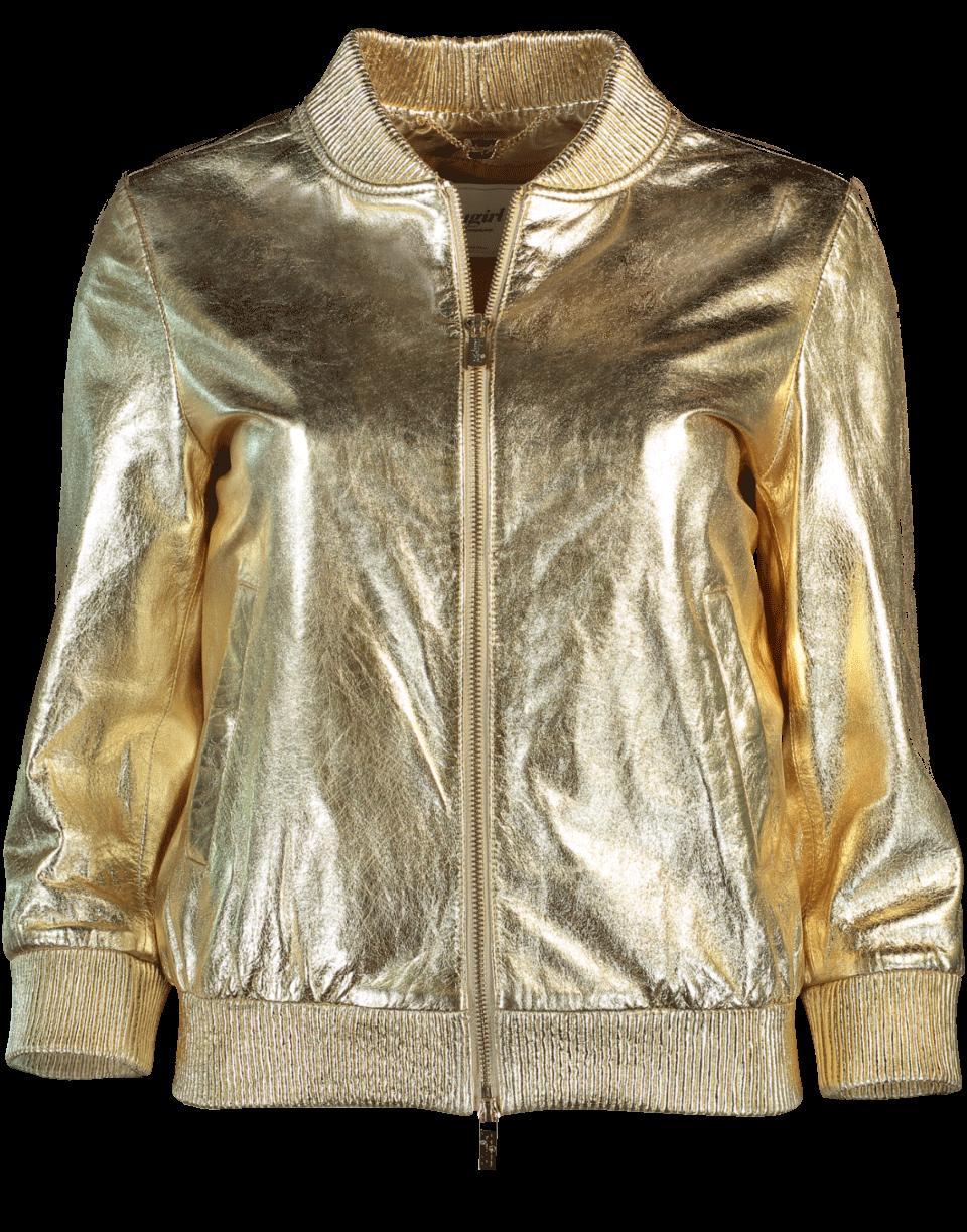 Blugirl Metallic Leather Jacket In Oro