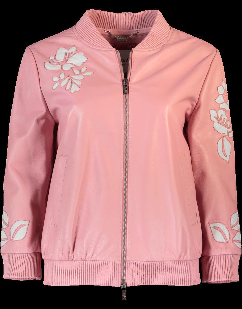 Blugirl Emroidered Leather Jacket In Rosa