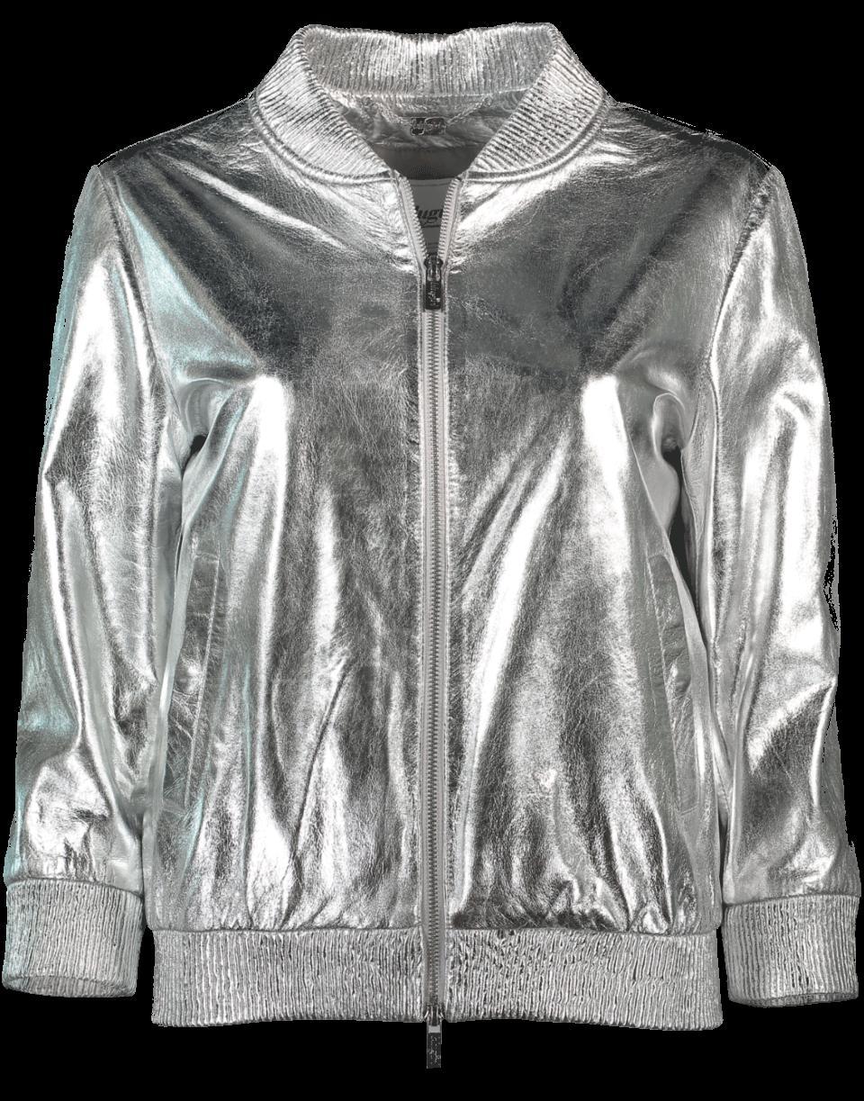 Blugirl Metallic Leather Jacket In Argento