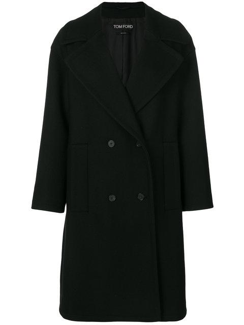 Tom Ford Double Breasted Coat In Black