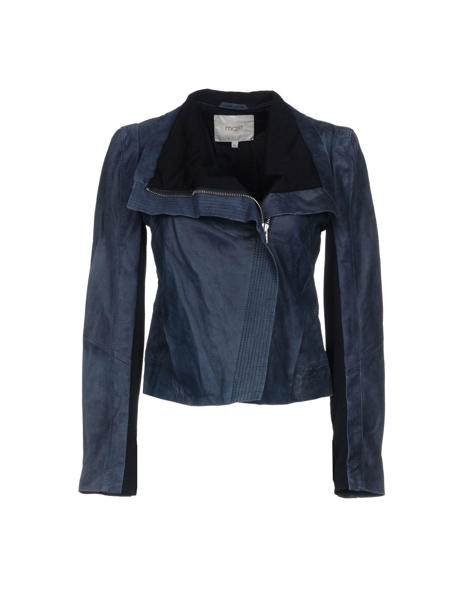 Maje Biker Jacket In Slate Blue