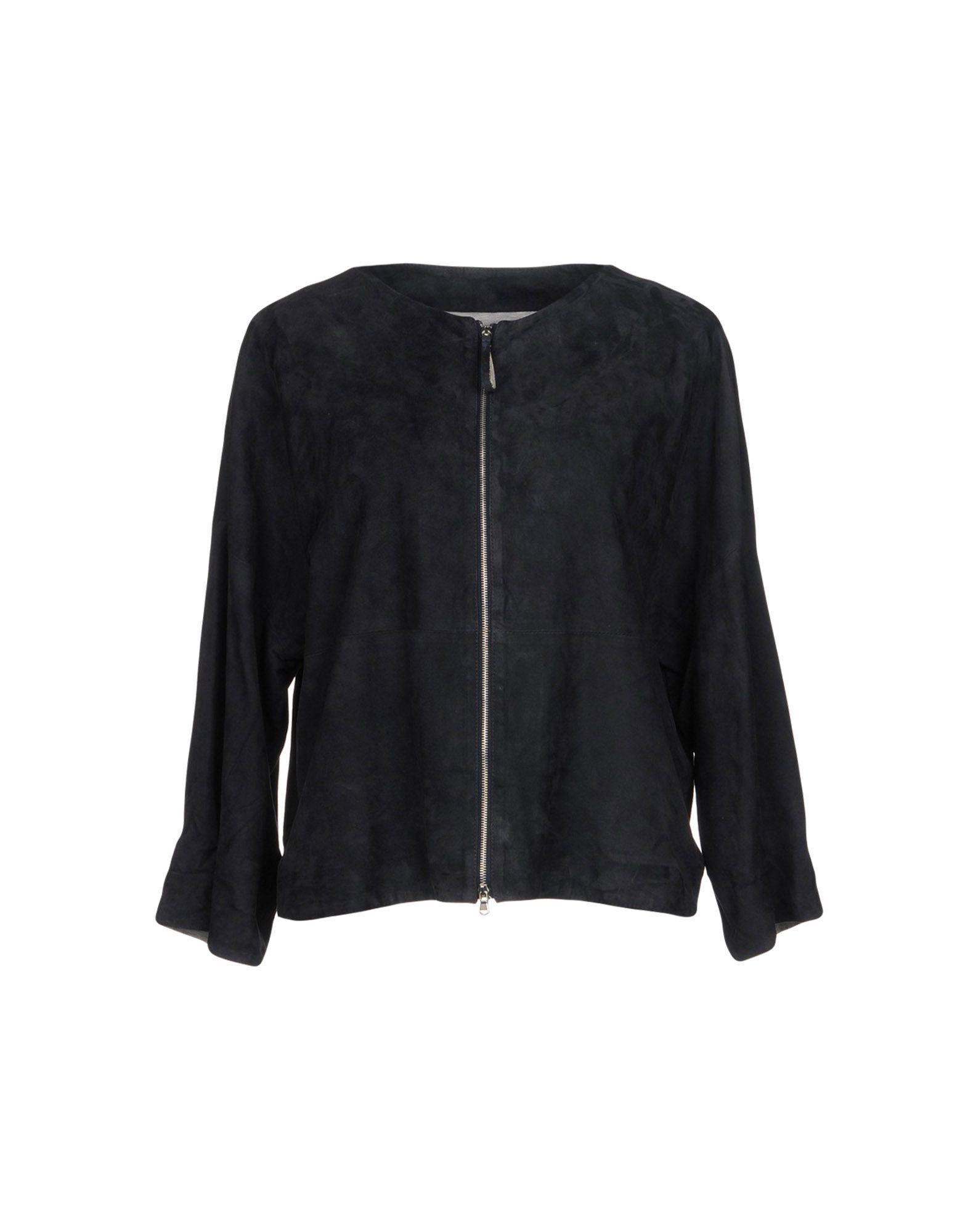 Fabiana Filippi Leather Jacket In Dark Blue