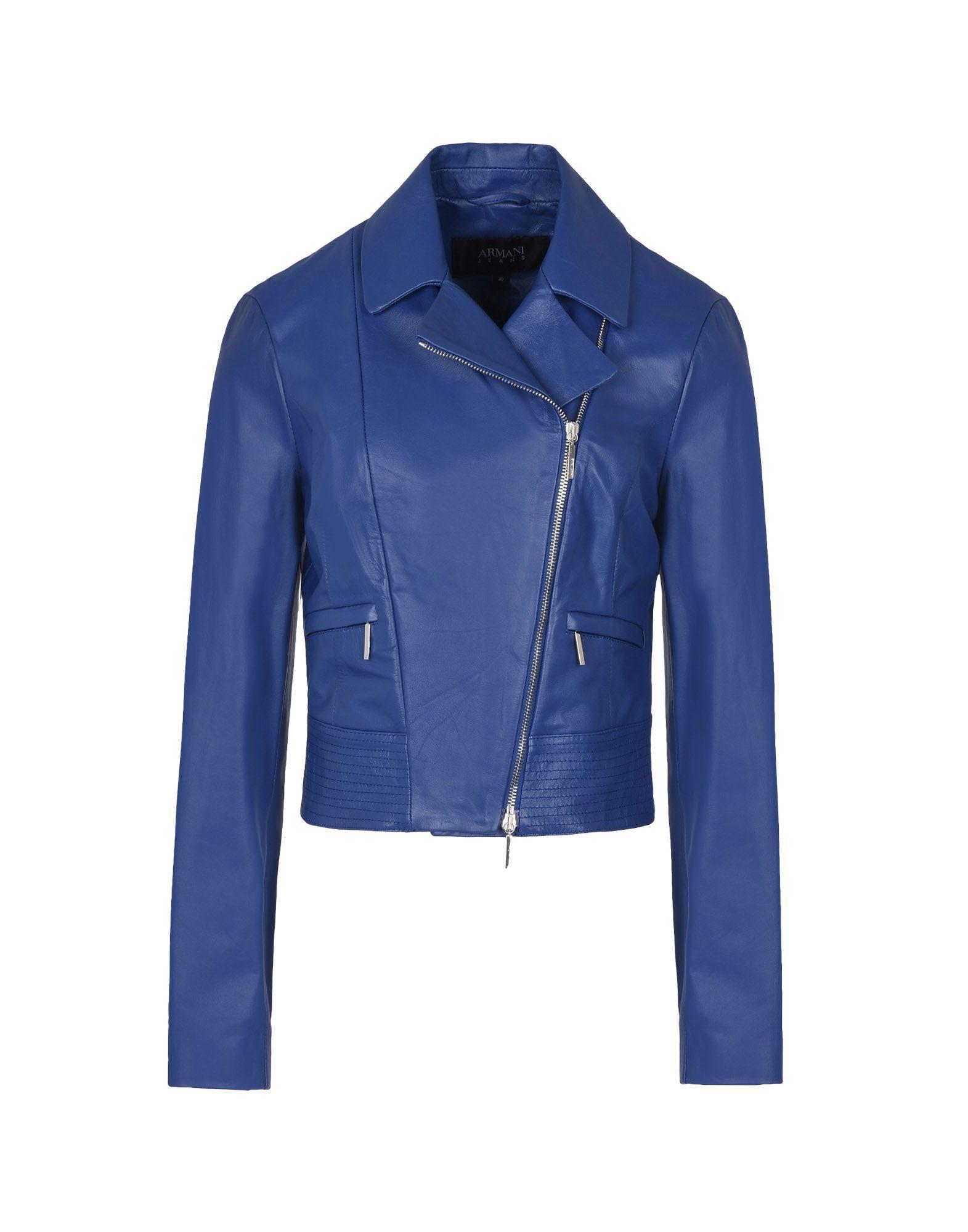 Armani Jeans Biker Jacket In Blue