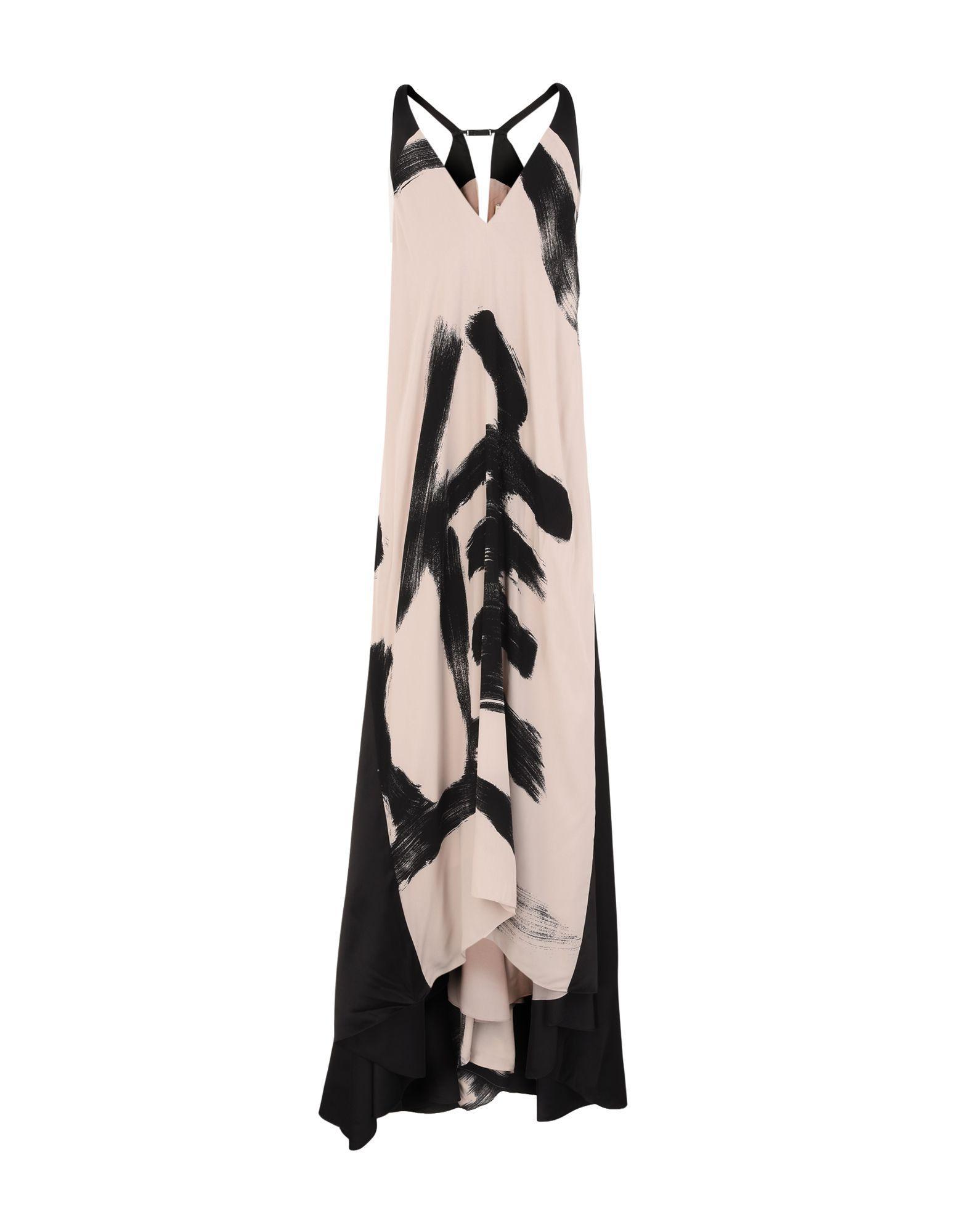 Halston Heritage 3/4 Length Dresses In Beige