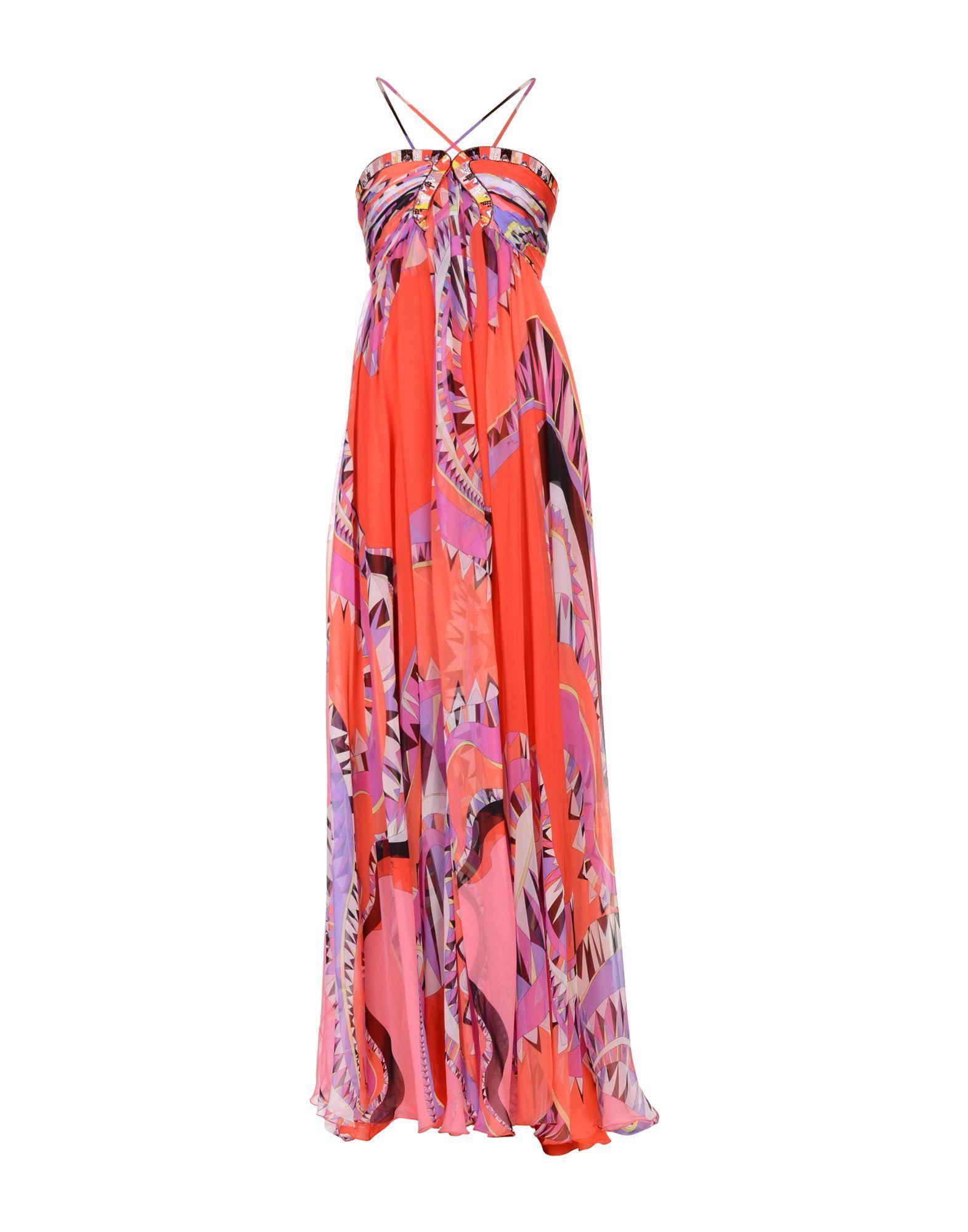 Emilio Pucci Long Dresses In Coral