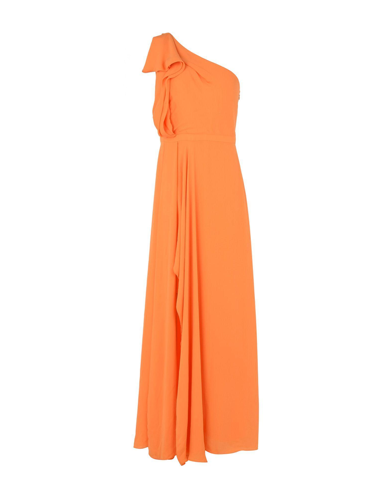 Halston Heritage Long Dresses In Orange