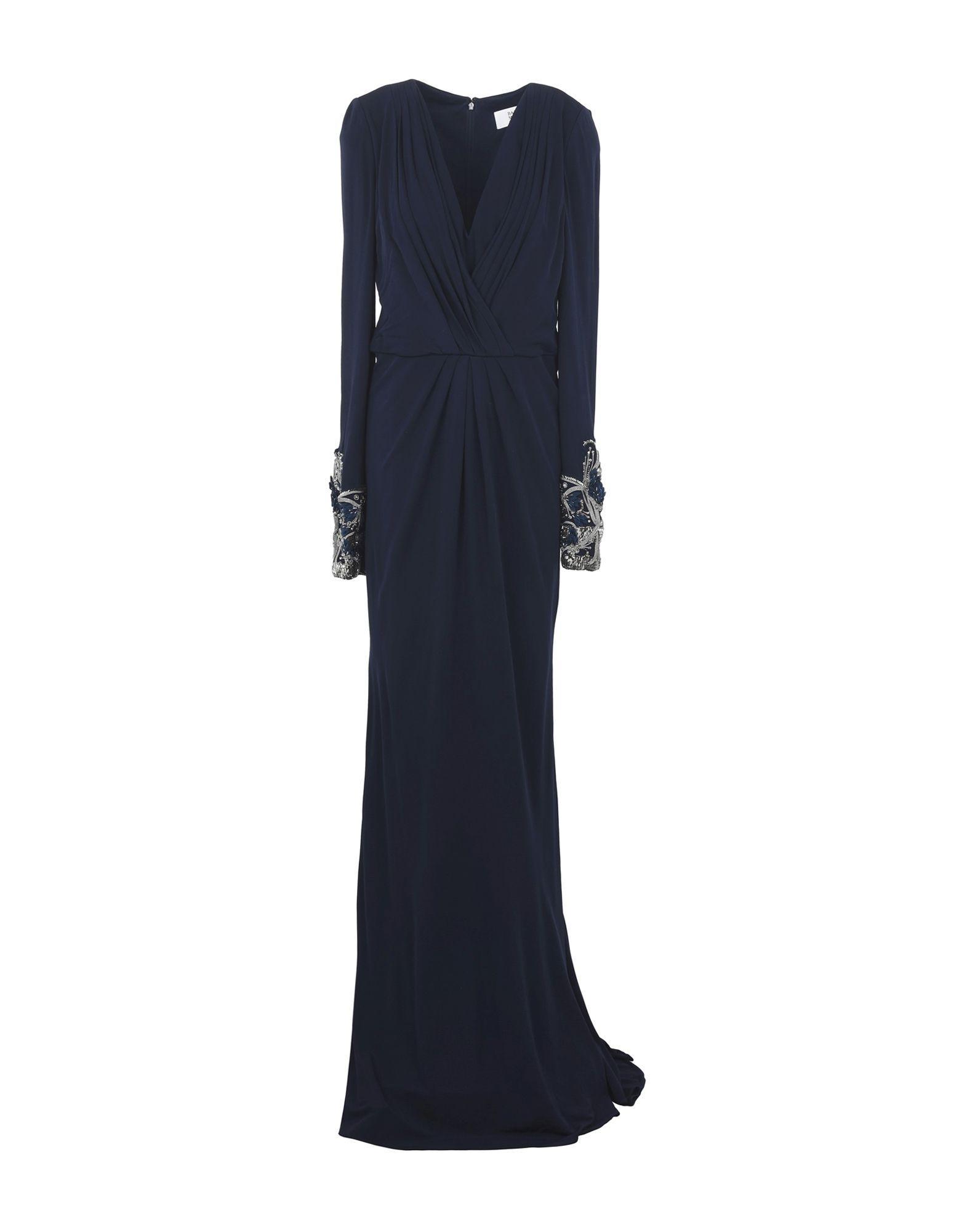 Badgley Mischka Long Dresses In Dark Blue
