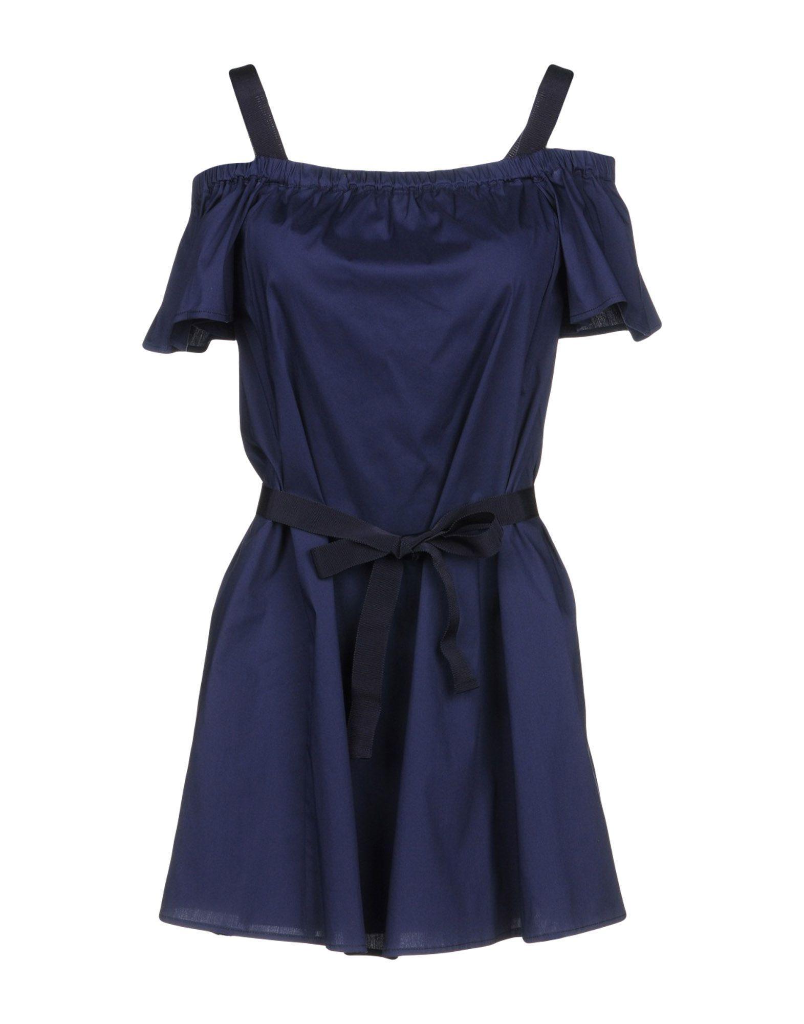 Patrizia Pepe Short Dress In Dark Blue