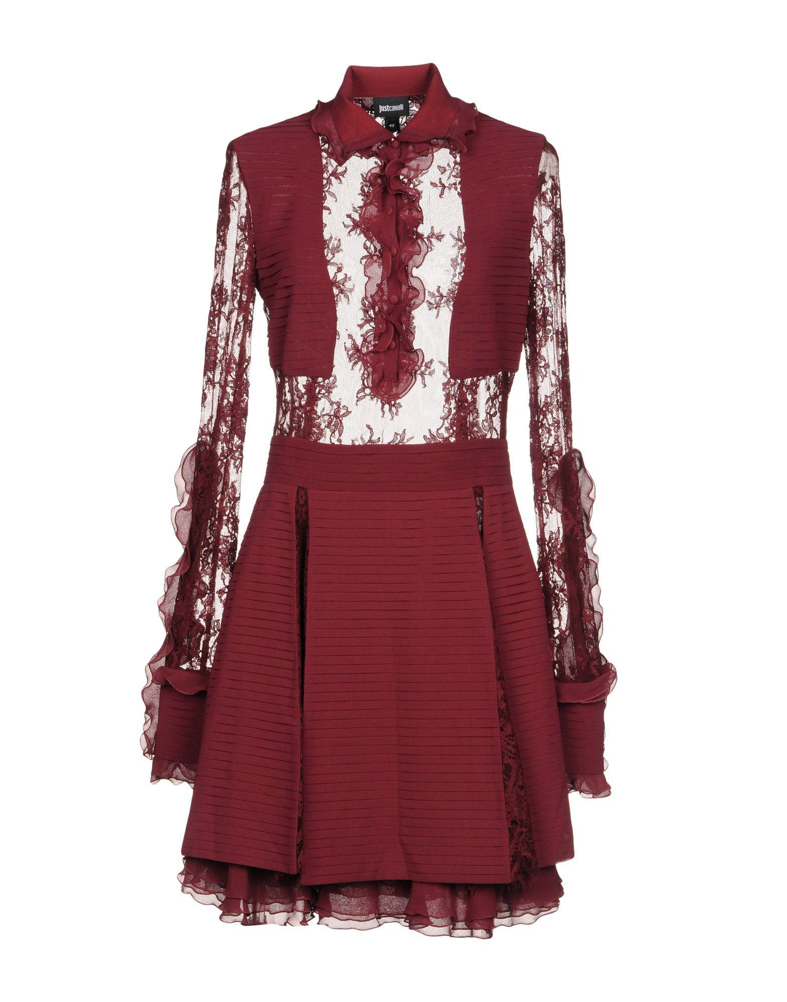 Just Cavalli Short Dresses In Maroon