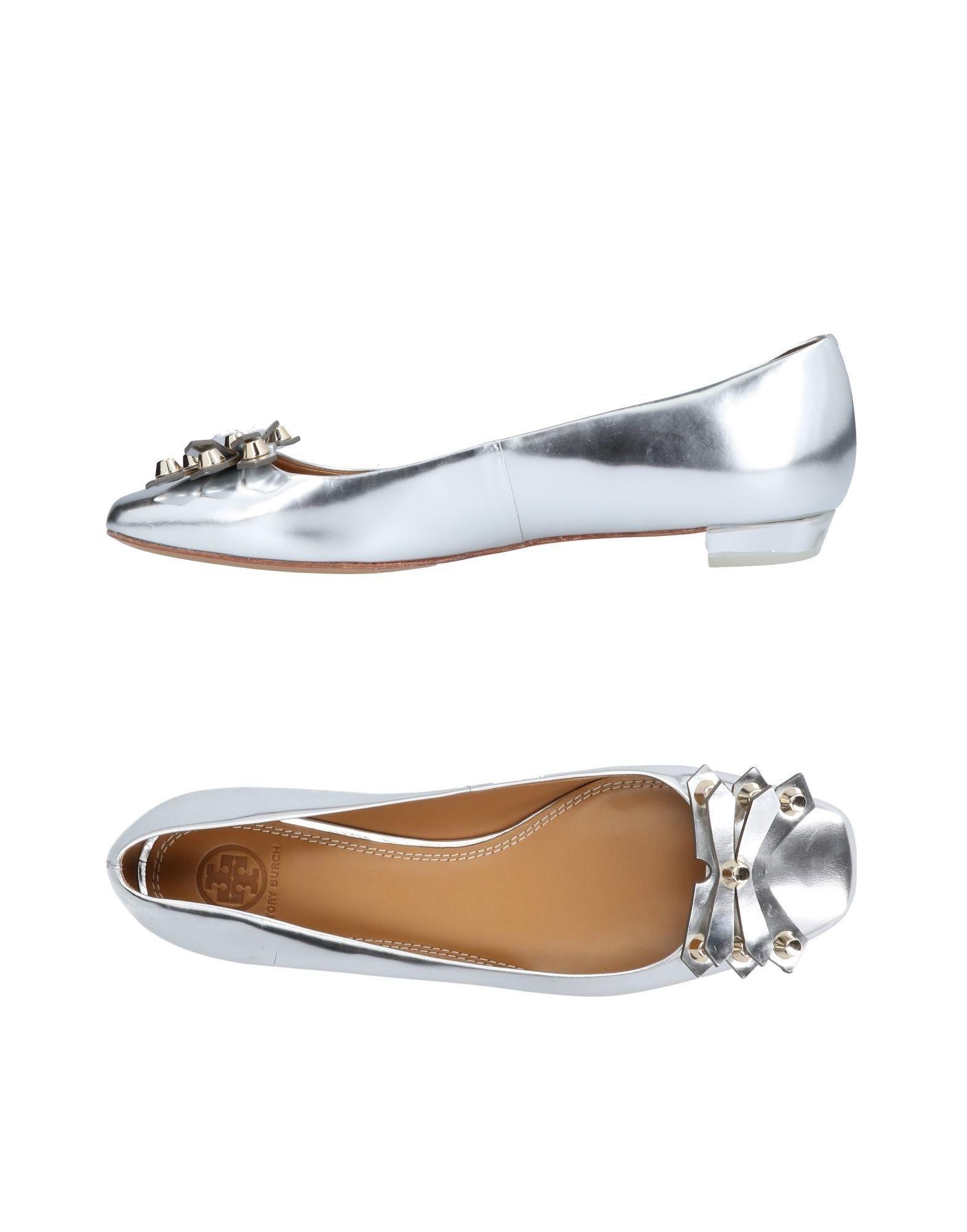 Tory Burch Ballet Flats In Silver