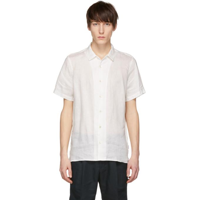 Ps By Paul Smith White Short Sleeve Linen Shirt In 02.white