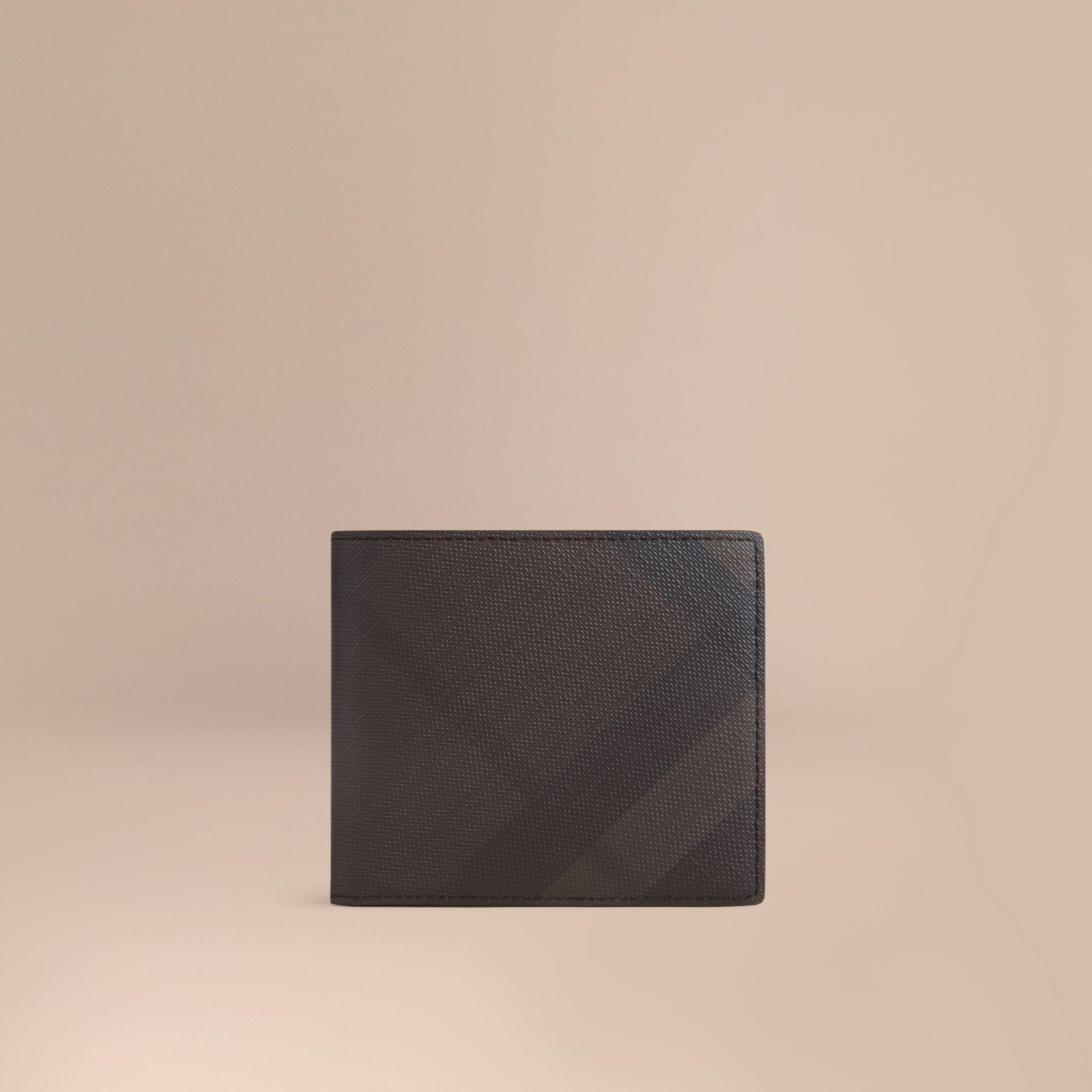 Burberry 런던 체크 바이폴드 코인 지갑 In Chocolate/black