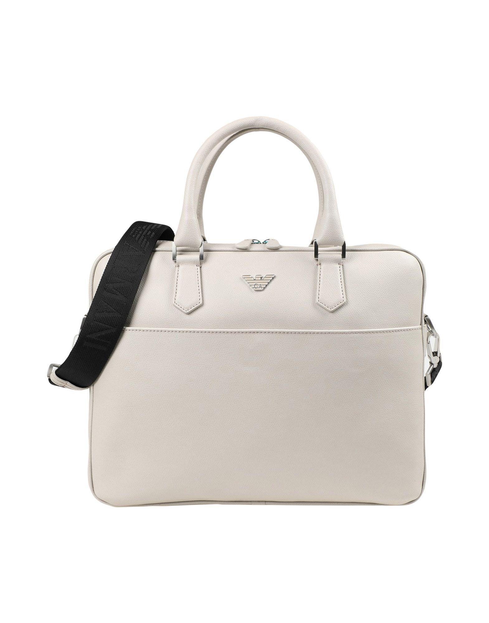 Emporio Armani Work Bag In Beige