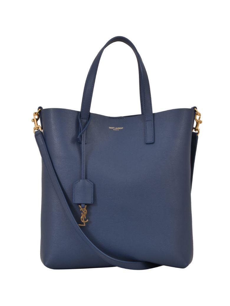 Saint Laurent North South Tote Bag In Light Blue