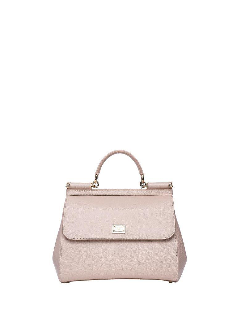 Dolce & Gabbana Beige Dauphine Leather Regular Sicily Bag In Rosa Carne