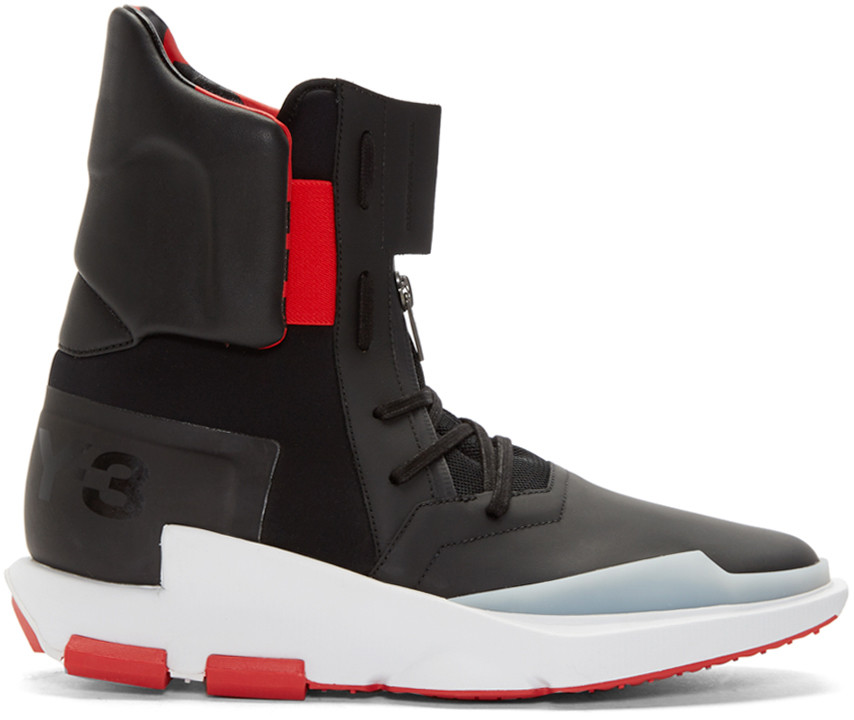 buy popular 93f4a 0fc32 Y-3 Black   Red Noci 0003 High-Top Sneakers In Black  Flame